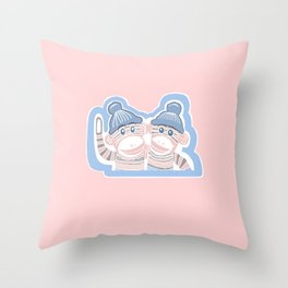 Light Pink and Soft Blue Sock Monkeys Throw Pillow