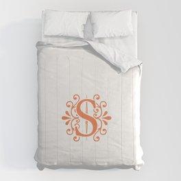 Monogram Letter H in Orange Comforters