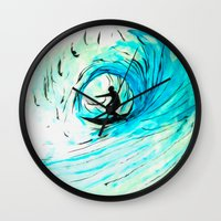 surfer Wall Clocks featuring Surfer by Bruce Stanfield