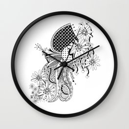 Flowers and Falling Hearts Wall Clock
