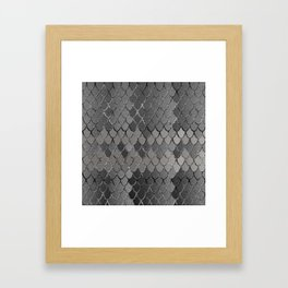 Mermaid Scales Silver Gray Glam #1 #shiny #decor #art #society6 Framed Art Print