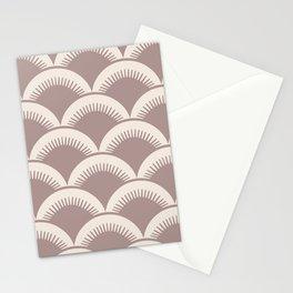 Japanese Fan Pattern Beige 2 Stationery Cards