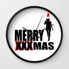 merry Xmas funny logo Wall Clock