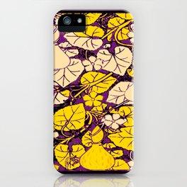 Grape Purple & Cream Garden Vines Yellow Design iPhone Case