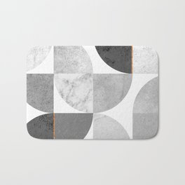 Marble Gray Copper Black and white circles Bath Mat