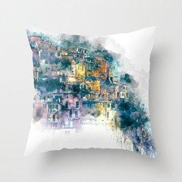 Houses village coast Italy Throw Pillow