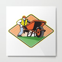 Gardener Pushing Wheelbarrow Retro Metal Print