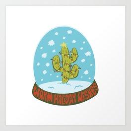Cactus Snow Globe Art Print