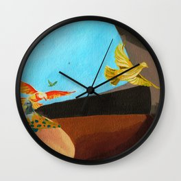Old man painting pigeons children's book illustration Wall Clock
