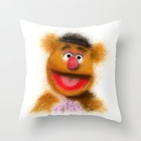 muppets Throw Pillows featuring Fozzie, The Muppets by KitschyPopShop