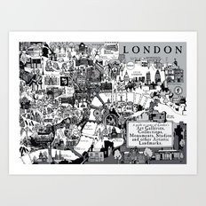 Map of London Art Landmarks Art Print
