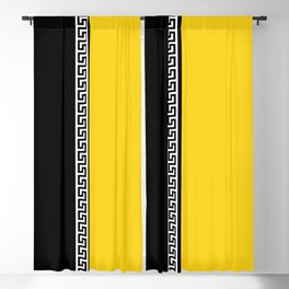 Greek Key 2 - Yellow and Black Blackout Curtain