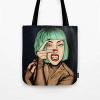 Tote Bags featuring Vamp by Helen Green