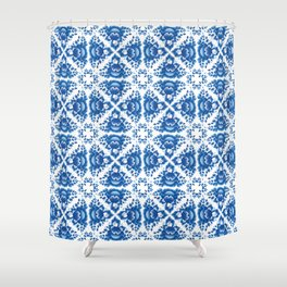 Vintage shabby Chic Seamless pattern with blue flowers and leaves Shower Curtain