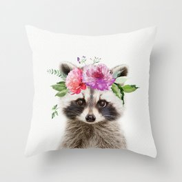 Baby Raccoon with Flower Crown Throw Pillow