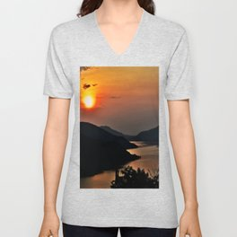 Sunset and the river Unisex V-Neck