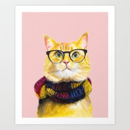 Bob the cat with glasses Art Print