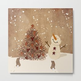 Primitive Country Christmas Tree Metal Print