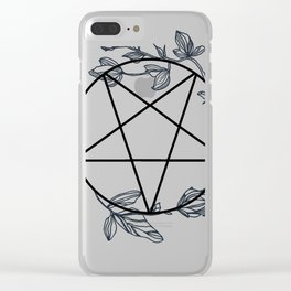 Witch's Pentagram with Flora Adornments Clear iPhone Case
