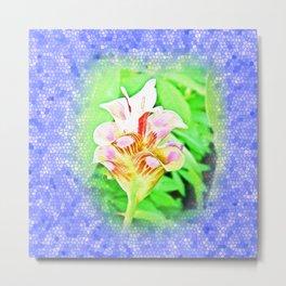 Dimensional surface painting pink flowers Metal Print