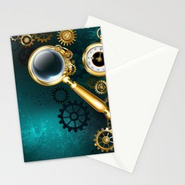 Magnifier in Steampunk Style Stationery Cards