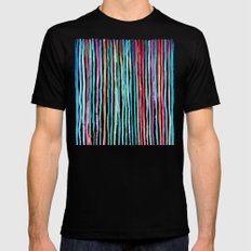 Watercolor Stripes in Pink, Coral, Blue & Aqua X-LARGE Mens Fitted Tee Black