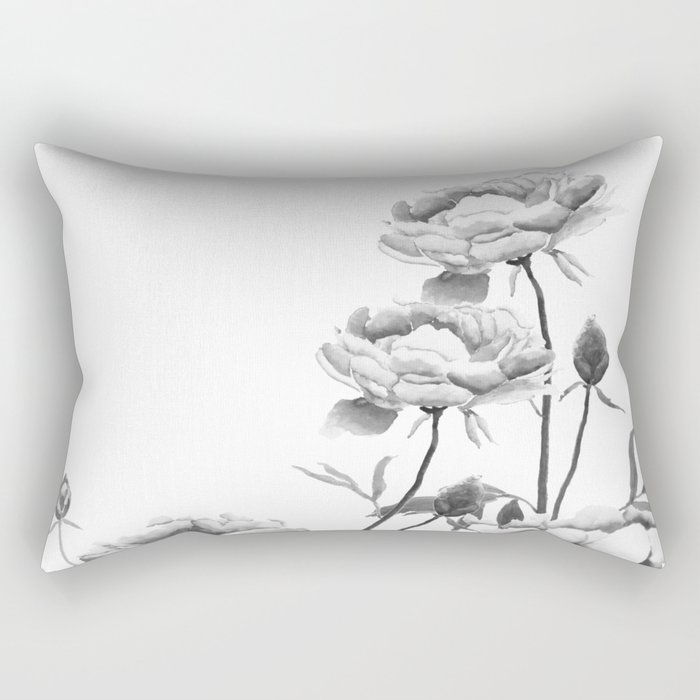 black and white peonies Rectangular Pillow