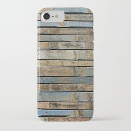 distressed wood wall - Blue and brown planks iPhone Case