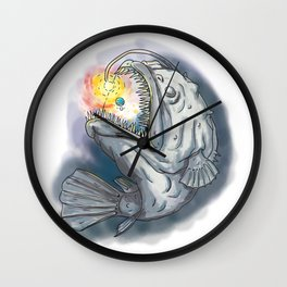 Anglerfish Swooping up Solar System Lure Watercolor Wall Clock
