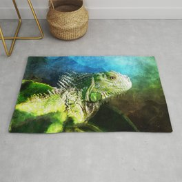 Blue And Green Iguana Profile Rug