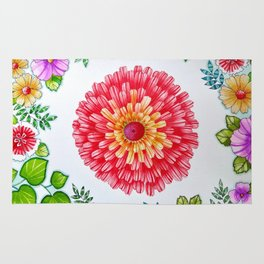 Bright Red Flower Called Sweet William Rug