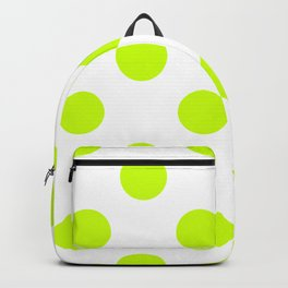 Large Polka Dots - Fluorescent Yellow on White Backpack