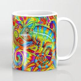 Psychedelizard Colorful Psychedelic Chameleon Rainbow Lizard Coffee Mug