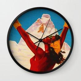 Aosta Valley Switzerland - Vintage Snow Skiing Travel Wall Clock