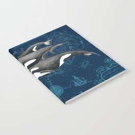 Orca Whales Family Indigo Vintage Map Notebook