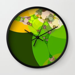 veronica - bright abstract of lime grass green and warm gold yellow Wall Clock