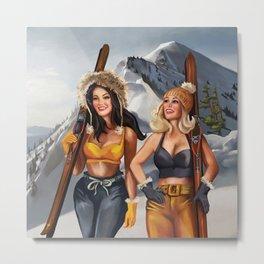 Pinup Girls Skiing Metal Print