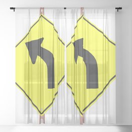 """""""Curve"""" - 3d illustration of yellow roadsign isolated on white background Sheer Curtain"""