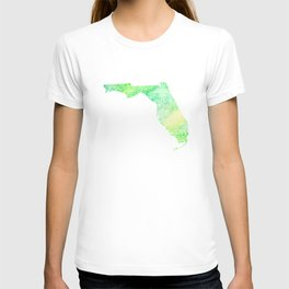 Typographic Florida - green watercolor T-shirt