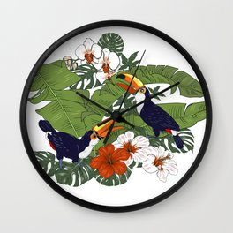 Toucans in the jungle Wall Clock