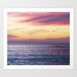 Pink Sunset over Carmel Beach Art Print