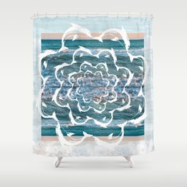 white dolphins' gyre Shower Curtain