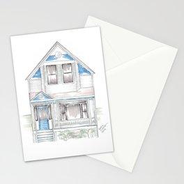 Blue Folk Victorian House Stationery Cards