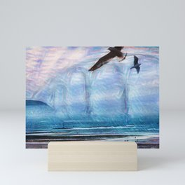 Fog Bridge in Barmouth Mini Art Print