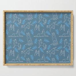 Siberian Husky Pattern (Blue-Gray) Serving Tray