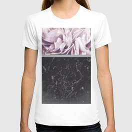 Light Purple Flower Meets Gray Black Marble #1 #decor #art #society6 T-shirt