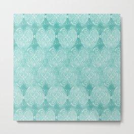 Watercolor Damask Pattern, Aqua Blue Scroll Swirls  Metal Print