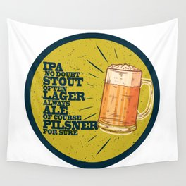 Beer always, vintage poster, circle, yellow Wall Tapestry
