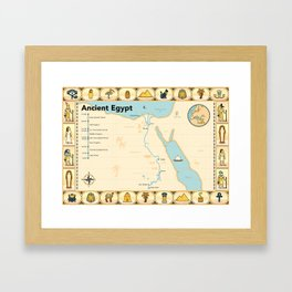 Illustrated map of Ancient Egypt Framed Art Print