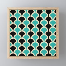 Classic Fan or Scallop Pattern 442 Black and Turquoise Framed Mini Art Print